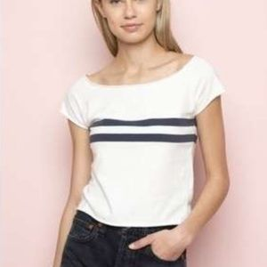 brandy Melville white with blue stripes top